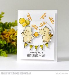 Happy Hippos Stamp Set and Die-namics, Inside & Out Stitched Oval STAX Die-namics, Balloon Shaker Window & Frame Die-namics - Vika Salmina  #mftstamps
