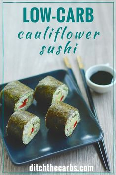 Easy blender recipe for healthy low-carb cauliflower sushi is perfect for a healthy lunch or snack. Take low-carb sushi for a packed healthy work or school lunch. #lowcarb #keto #glutenfree #primal | ditchthecarbs.com via @ditchthecarbs