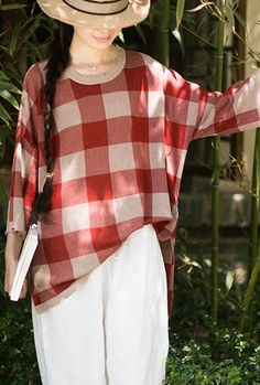 Classy Half Sleeve Spring Clothes Fashion Ideas Red Plaid Blouse Casual Sweaters, Casual T Shirts, Casual Tops, Plus Size Casual, Plus Size Tops, Spring Clothes, Spring Outfits, Fashion Ideas, Fashion Outfits