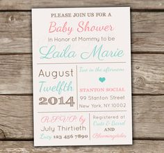 Gender Neutral Baby Shower Invitations - Printed, Bridal Shower, Engagement, Couples, Pink, Blue, Mint, Blush, Typography, Vintage - SHOP : chitrap.etsy.com