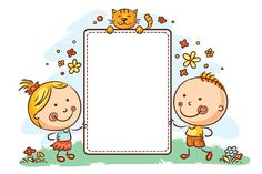 Buy Cartoon Kids With a Frame With Copy Space by katya_dav on GraphicRiver. Kids with a frame with copy space Cute Picture Frames, Cute Frames, Cartoon Kids, Cute Cartoon, Kids Background, Background Banner, Sticky Labels, Borders And Frames, Preschool Art
