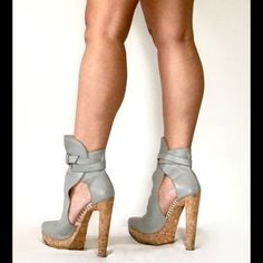 Herve Leger Mint condition Herve Ledger Genuine grey distressed leather 5 1/2 cork heels, wrap around belt buckle, comes with dust cover no box. Only visible wear is on soles.  Host Pick Herve Leger Shoes Ankle Boots & Booties
