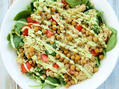 This Loaded Spinach Salad with Creamy Avocado Basil Dressing is full of nutrition and bursting with flavor! You'll love this healthy, vegan salad.  Who is ready to get their salad on?  This salad has everything a salad could ever want.  It's hearty and filling thanks to the addition of quinoa and crispy chickpeas.  It's got...Read More »