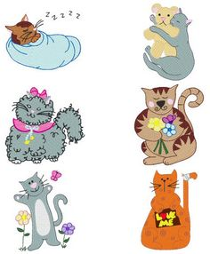 """These free embroidery designs are from Bunnycup Embroidery's embroidery design collection called, """"Fabulous Felines"""".   They will definitely make you purr!"""