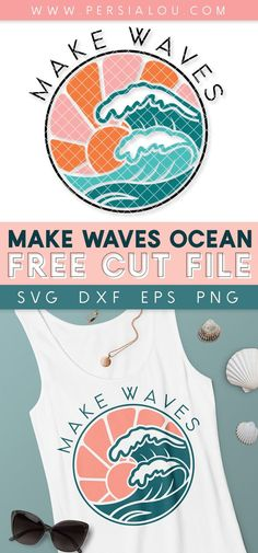 Download this free Make Waves ocean SVG cut file perfect for making summer crafts with your Cricut or Silhouette! Free Svg Cut Files, Svg Files For Cricut, Vinyl Projects, Diy Craft Projects, Cricut Tutorials, Cricut Ideas, Free Hand Drawing, Designer Friends, Wave Design