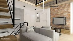 interior design ~ two-storey apartment in Krakow with mezzanine Krakow, Divider, Behance, Interior Design, Room, Furniture, Home Decor, Lounges, Mezzanine