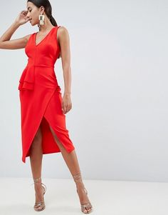 Shop ASOS DESIGN pencil dress with peplum waist and contrast straps. With a variety of delivery, payment and return options available, shopping with ASOS is easy and secure. Shop with ASOS today. Red Peplum Dresses, Polka Dot Mini Dresses, Maxi Bridesmaid Dresses, Satin Midi Dress, Strapless Mini Dress, Dress Red, Maxi Dresses, Party Dresses, Maternity Shirt Dress