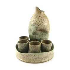 Judi Tavill/jtceramics - Sake Set, Handmade Unique Ceramic Modern and Organic Green hues Ceramic Pitcher, Ceramic Cups, Pottery Plates, Ceramic Pottery, Sake Sushi, Sake Bottle, Clay Cup, Hand Built Pottery, Pottery Designs