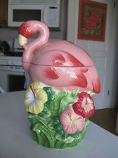 Collectible COOKIE JAR: Home Ceramic Hot Pink Flamingo with Hibiscus...I have this in my kitchen