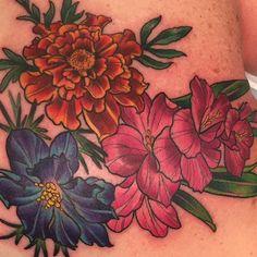 Floral tattoo by Kim Saigh at Memoir Tattoo