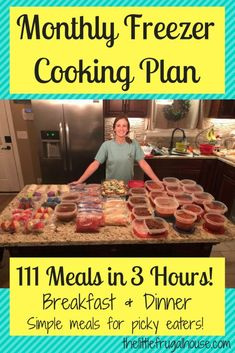 Monthly Freezer Cooking Plan Make 111 Meals in 3 Hours is part of Freezer dinners I& not cooking for 2 months because I just made 111 meals in 3 hours! This monthly freezer cooking plan has a free - Budget Freezer Meals, Slow Cooker Freezer Meals, Make Ahead Freezer Meals, Crock Pot Freezer, Frugal Meals, Cheap Meals, Freezer Recipes, Budget Recipes, Easy Meals