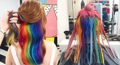 This hidden rainbow hair trend can make you look like Hairstyles Haircuts, Cool Hairstyles, Snapchat Filter, Hidden Rainbow Hair, Hair Color Techniques, Colouring Techniques, Bright Hair, Mermaid Hair, Red Hair Color