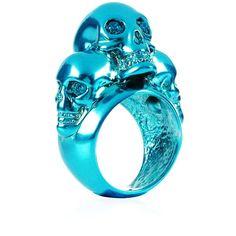 Blue Alexander McQueen Swarovski Crystal-embellished Skull Ring