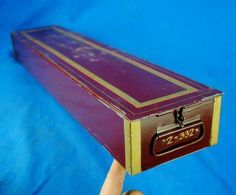 Antique Maroon Gold Safety Deposit Box Bank Vault Case Remington Sherman Co