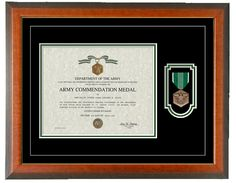 Military Memories and More - Army Commendation Certificate Frame - Horizontal, $110.00 (http://www.militarymemoriesandmore.com/army-commendation-certificate-frame-horizontal/)