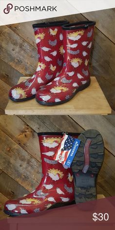 NEW! Sloggers rain/muck boots Brand new with a cute chicken and rooster print. Perfect for rainy days or for those who may have their own little farm! Sloggers  Shoes Winter & Rain Boots