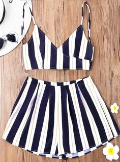 4cb770c0c56 Striped Top With Wide Leg Shorts  casualfashionstyle Petite Jumpsuit