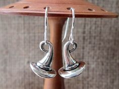 3D Witches' Hat Silver Earrings