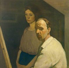 Self Portrait with Artist's First Wife, Nancy by James Cowie (1886-1956)