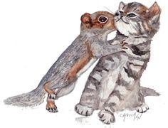 Squirrel Vs. Kitten as ACEO Print or Blank by OzarksArtStudio
