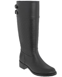 Capelli New York Opaque Embossed Woven Detail And Back Buckles Ladies Equestrian Rain Boot Black9 ** This is an Amazon Affiliate link. You can find out more details at the link of the image.