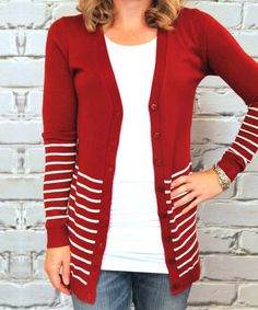 Another great find on #zulily! Red & White Stripe V-Neck Cardigan by Olivia & Jane #zulilyfinds
