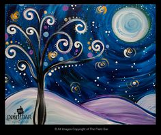Starry Funky Winter Tree Painting - Jackie Schon, The Paint Bar