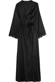 Tendresse Chantilly lace-trimmed silk-blend satin robe