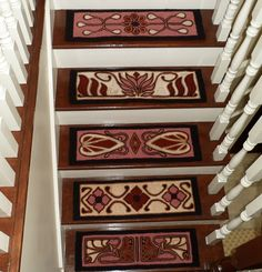 Custom designed hooked stair treads with a vintage feel. Each tread is one-of-a-kind. Choose your own color palette. www.theoldloft.etsy.com