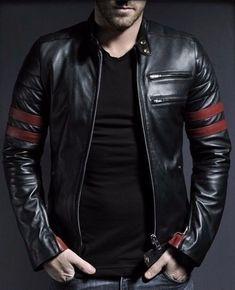 New Men's Genuine Lambskin Leather Jacket Black Slim fit Motorcycle Biker Jacket Lambskin Leather Jacket, Biker Leather, Faux Leather Jackets, Leather Men, Sheep Leather, Black Leather, Motorcycle Leather, Cowhide Leather, Soft Leather