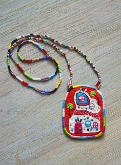 Necklace with pendant Hundertwasserhouse by oksaniko on Etsy, $26.00