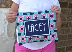 Personalized Cosmetic/ Pencil Bags! Love this for holding school supplies so it doesn't get lost!