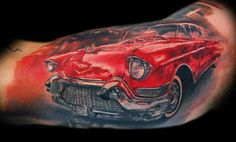 Realistic black and red Cars tattoo works by Tomasz Tofi Torfinski Car Tattoos, Weird Tattoos, Body Art Tattoos, Sleeve Tattoos, Awesome Tattoos, Inspiring Tattoos, Chevy Tattoo, Gear Head Tattoo, Picture Tattoos