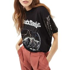 Women's Topshop Sequin Sleeve Rock Tee ($52) ❤ liked on Polyvore featuring tops, t-shirts, black multi, short sleeve t shirts, vintage tops, topshop tops, short sleeve tee and sleeve t shirt