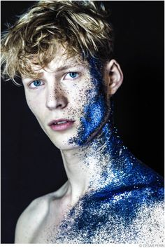 Unsigned MGMT model Sven de Vries is in the spotlight appearing in a new series of images by Cesar Perin. Following a successful spring 2015 runway season, walking for the likes of Prada, Louis Vuitton and Dior Homme, the Dutch model up and comer is captured in 'Indigo' as his features shine through a splash of blue glitter.
