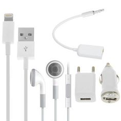 5 in 1 EU Plug Charger Travel Kit for iPhone 6 / 6 Plus, 5 / 5S / 5C(White)