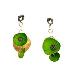 Fanourakis company combines gold with color. Eye Jewelry, Jewellery, Water Lilies, Crochet Earrings, Hand Painted, Jewels, Christmas Ornaments, Holiday Decor, Flowers