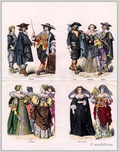 Baroque costumes 1750. Louis XIV fashion era.