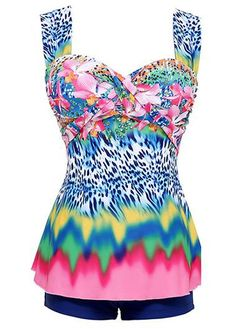 Colorful Printed Underwire Tankini Swimsuit With Shorts