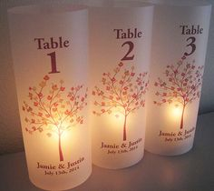 Personalized Wedding Luminary Table Numbers by SaidInStoneOnline, $20.00