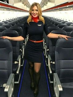 Who doesn't love a woman in uniform? These flight attendants command attention on the aircraft and are pros at the position. Flight Attendant Hot, Airline Attendant, Airline Cabin Crew, Airline Uniforms, Female Pilot, Black Pantyhose, Nylons, Girls Uniforms, Black Stockings