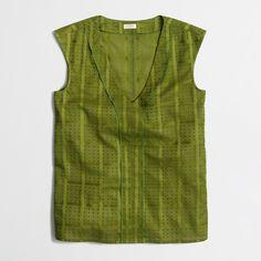 Factory sleeveless textured swiss-dot top : Shirts & Tops | J.Crew Factory