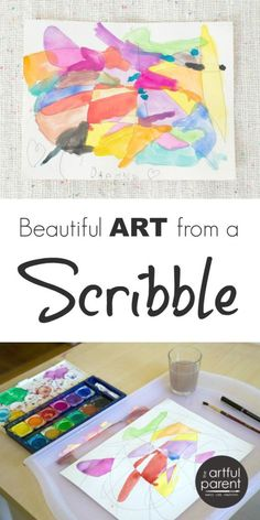 Scribble Drawings with Watercolor Paint. I did this so many times as a kid! Fun art activity for all ages!!
