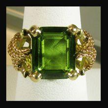 18K Yellow Gold Emerald Cut Peridot Ring Size 7 3/4
