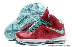 Discounts Nike Lebron X (10) Varsity Red Fresh Green-White