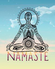 Namaste Yogi  8x10 Metallic Print Yoga Art by LeslieSabella, $20.00