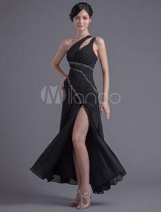 60191530a9f Sheath Black Chiffon Sequin One-Shoulder Ankle-Length Prom Dress  Chiffon