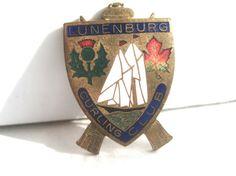 Antique Hatpin Original Nautical Guilloche Enamel Curling Thistle Badge