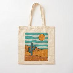 Painted Canvas Bags, Canvas Tote Bags, Diy Tote Bag, Custom Tote Bags, Jute Bags, Cotton Bag, Handmade Bags, Desert Landscape, Cactus Illustration