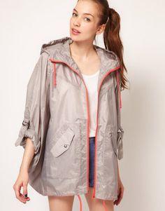ShopStyle: Vila Contrast Zip Rain Poncho